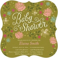 Verdant Dream - Baby Shower Invitations - Hallmark - Eucalyptus Green #baby