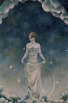 : moon goddess, mother, la luna, stars, blue skies, a tattoo, shannon stamey, angel art, colored pencils