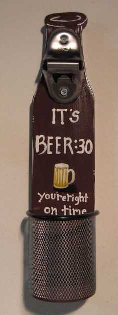 Beer Bottle Opener Wall Mounted With Cap Catcher. $28.00, via Etsy.