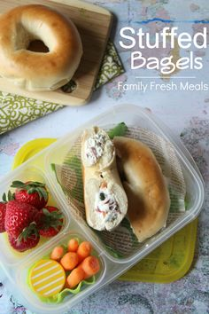 Stuffed Bagel Sandwiches packed for lunch with @EasyLunchboxes | FamilyFreshMeals.com