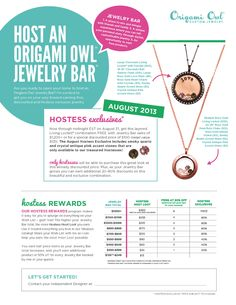 Fall Exclusive Rewards! Host an Origami Owl Party with me in your Home