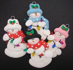 Polymer Clay Snowman Ornaments