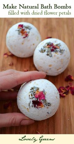 Learn how to make your own Natural Bath Bombs filled with a secret center of dried flower petals! - these are so pretty and make bath time fragrant and relaxing :)