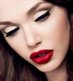 Simple eyes and bold red lips