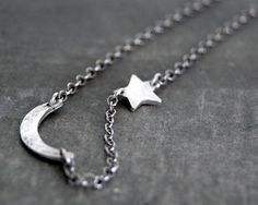 Tiny Rustic Crescent Moon and Star Necklace. $39.00, via Etsy.