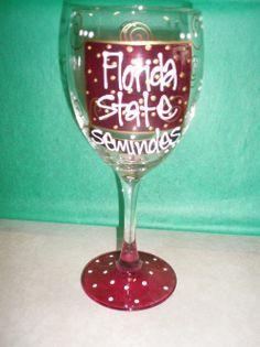 Cute #Florida State Wine Glass