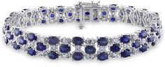 18 1/4 CT TGW Created Blue Sapphire Created White Sapphire Bracelet Silver Length (inches): 7.25