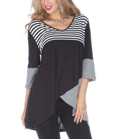 Take a look at this Black Stripe V-Neck Hi-Low Tunic by Lily on #zulily today!