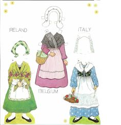 Traditional Folk Costumes of Europe 3 of 10 BELGIUM and  IRELAND and  ITALY
