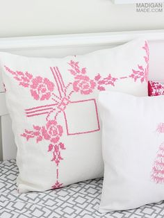 How to sew a pillow using vintage fabric - Madigan Made