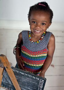 rainbow bright dress from Crochet at Play by Kat Goldin with Kyle Books