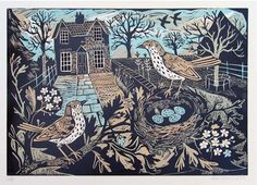 Garden Birds - Linocut  by Mark Hearld