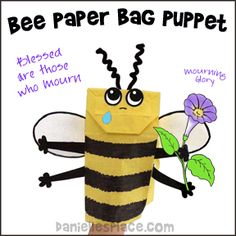 Bee Paper Bag Craft - Blessed those who mourn Bee holding a Mourning Glory craft for Sunday School from www.daniellesplace.com