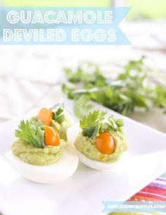 Guacamole deviled eggs for #SundaySupper. #recipe