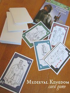 Medieval Kingdom card game. Free printable.