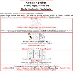Free Animals Alphabet:  coloring pages, posters, handwriting practice in standard block or modern print for preschool, Kindergarten and early grades.
