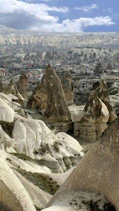 Rock formations in Göreme National Park, Cappadocia, Turkey.