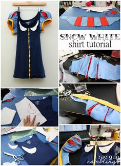 Step by step instructions on how to take a tank top and make it into a cute Snow White Costume - Rae Gun Ramblings