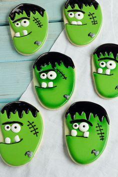 Frankenstein Face Cookies Tutorial