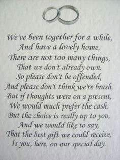 20 Wedding poems asking for money gifts not presents Ref No 10 More