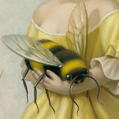 detail, mark ryden queen, pets, the artist, mark ryden, yellow, bumble bees, honey bees, baby bee, christina ricci