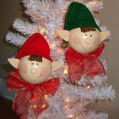 Erwin and Everett Elf Ornaments Set of 2 Red and Green Christmas Ornament Decorations. $20.00, via Etsy.