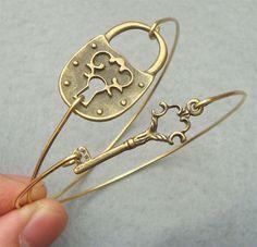 Classic Key and Lock Bangle 2 Bracelet Set by turquoisecity, $17.95