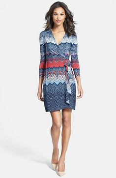 BCBGMAXAZRIA Print Long Sleeve Jersey Wrap Dress (Petite) available at #Nordstrom