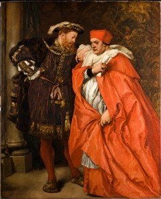 Henry VIII and Wolsey ~ Cardenal Wolsey:  Henry VIII's most able and devoted minister, betrayed. Thomas Wolsey (1471-1530), born a butcher's son, rose in Tudor times to Archbishop of York while serving both Henry VII and Henry VIII. As Cardinal Wolsey, he applied his great abilities as a statesman and administrator of England's foreign affairs to enhance his own person. He had the king's confidence until Henry decided to seek an an annulment of his marriage to Catherine of Aragon so he could marry Anne Boleyn.