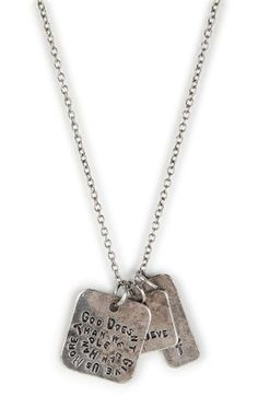 Deb Shops Long Necklace with Inspirational Tags Pendant $6.00