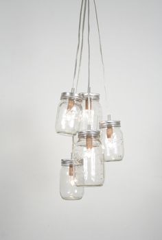 Mason Jar Chandelier SO COOL *love* #lighting #home #decor #mason_jar #country #chandelier #patio #deck