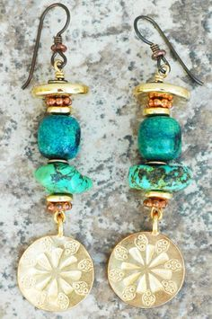Turquoise Earrings | Green | Gold | Disc | Dangle | XO Gallery | XO Gallery