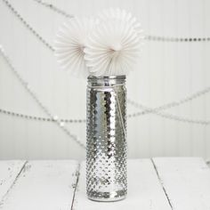 Love the winter-y look of this decorative silver Hobnail jar when placed against a stark white and silver backdrop!
