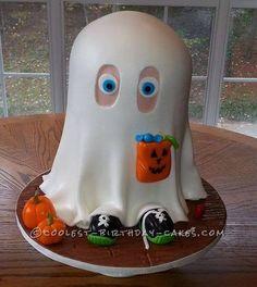 Little Johnny the Friendly Ghost Cake... a homemade Halloween cake idea.