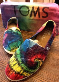 Rainbow Tiedye TOMS Shoes Custom Youth Sizes by 2dye4designs, $95.00