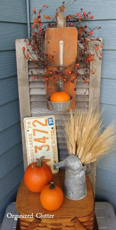 Barn Wood Pumpkin Ladle Display & Vignette www.organizedclutterqueen.blogspot.com