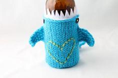 I Heart my Monster Shark   for your Beer Bottle/Soda by HandaMade, $18.00