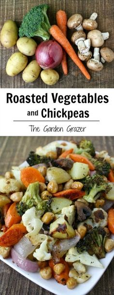 A one-pan wonder of comfort food! Vegetables and chickpeas roasted to perfection. Easily customizable (vegan, gluten-free)