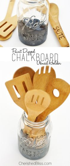 """Add a little character to your kitchen with this DIY Mason Jar Utensil Holder with a """"dipped"""" chalkboard accent!"""