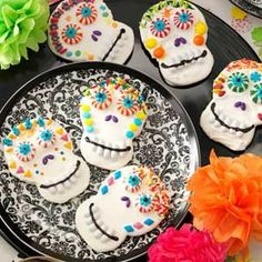Halloween Baby Shower Food Day of the Dead Cookies Recipe #halloween #food #dessert www.loveitsomuch.com