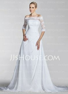 A-Line/Princess Off-the-Shoulder Chapel Train Chiffon  Satin Wedding Dresses With Lace  Beadwork (002004524)