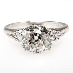 ANTIQUE CROWN MOTIF OLD MINE CUT DIAMOND ENGAGEMENT RING PLATINUM 1930