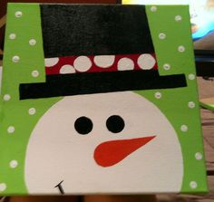 12X12 Christmas/Snowman Hand Painted Canvas. $20.00, via Etsy.