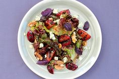 Grilled Plum Salad with Purple Basil, Blue Cheese, and Balsamic Vinaigrette --uh, YUM!!!!