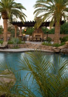 Luxurious backyard pool and outdoor living. Image only.