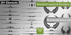 FREE: Laurel Wreaths and Dividers Png & Brushes