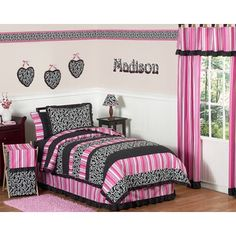Hot Pink and Black Bedding and Window Covering