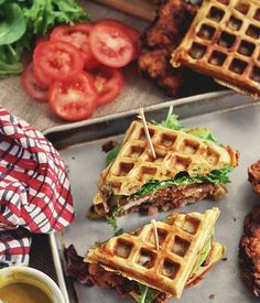 Chicken and Waffle Sandwiches, with Bacon, Cheddar, and Green Onion - Bon Appétit