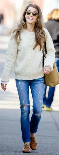 cream cable knit sweater, bootcut jeans, brown flats