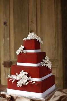 square red cake with white flowers